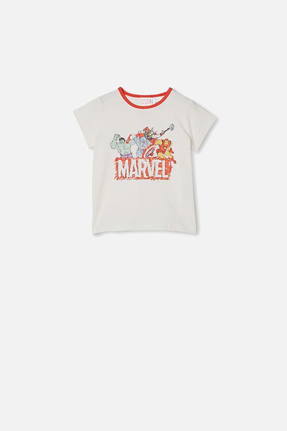 Hudson Short Sleeve Pyjama Set, LCN MAR AVENGERS VANILLA