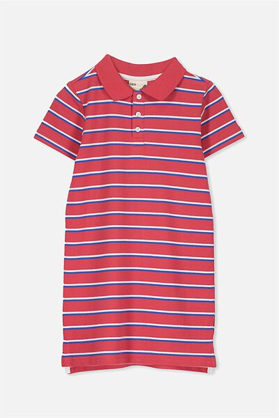 Blaire Polo Dress, BONFIRE RED/RETRO STRIPE