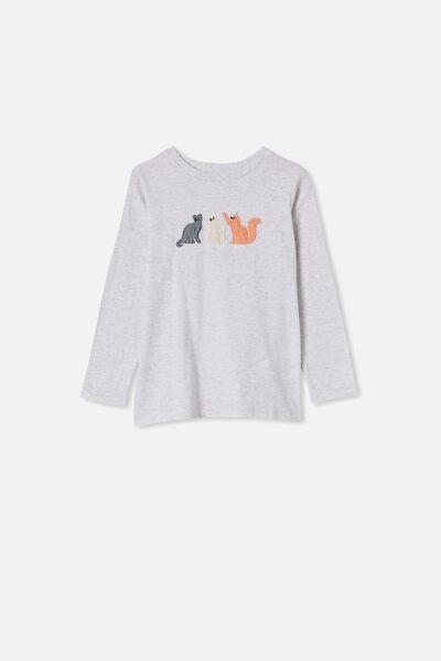 Stevie Long Sleeve Embellished Tee, SUMMER GREY MARLE/THREE CATS