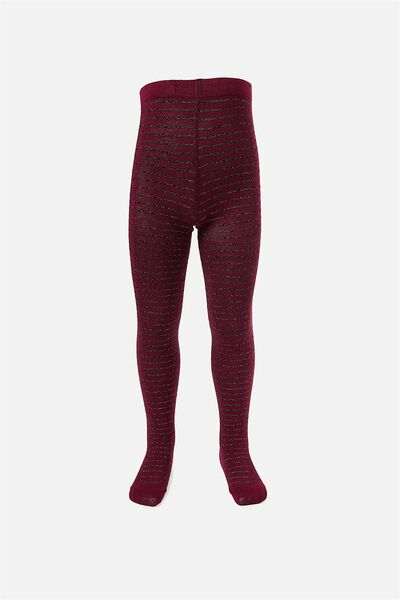 Tilly Tights, BURGANDY LUREX STRIPE