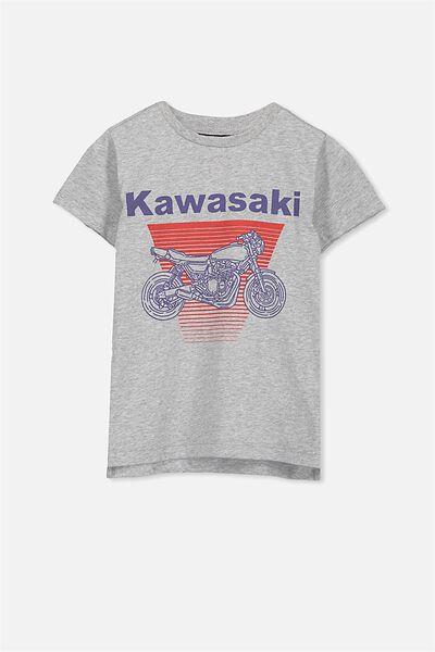Short Sleeve License Tee, LIGHT GREY/KAWASAKI