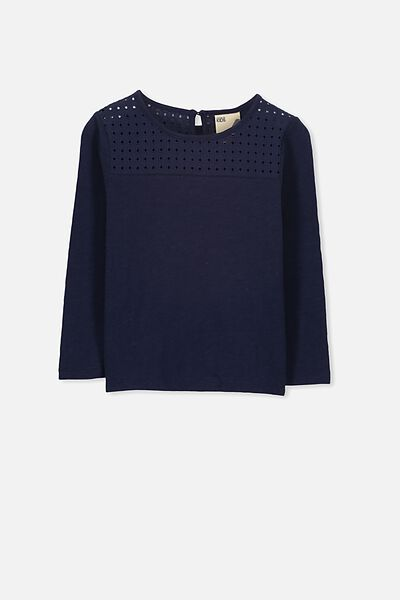 Anna Ls Broderie Tee, PEACOAT