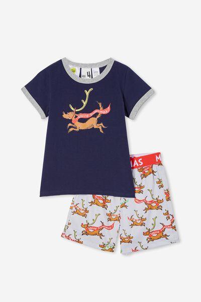 Nick Kids Short Sleeve Pyjama Set Licensed, LCN DRS GRINCH MAX MERRY GRINCHMAS LIGHT GREY
