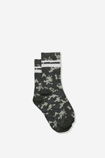 Retro Rib Crew Sock, CAMO/WHITE STRIPE