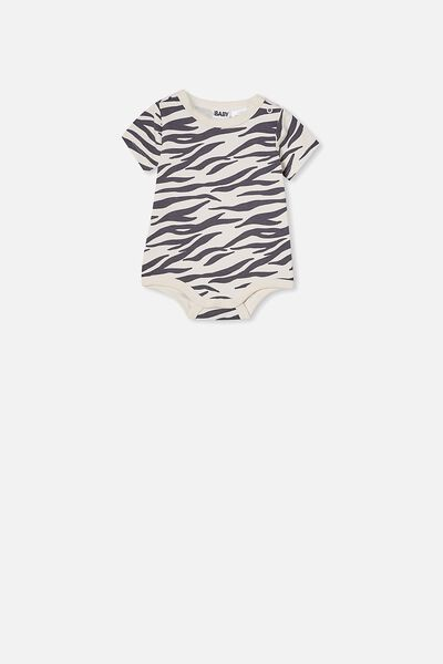 The Short Sleeve Bubbysuit, DARK VANILLA/MARTY ZEBRA
