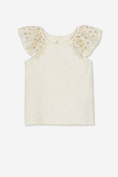 Lana Short Sleeve Tee, CREAM/GOLD DOT