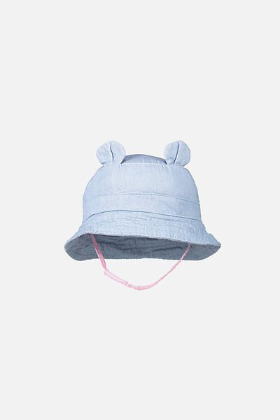 Baby Bucket Hat, PINK CHAMBRAY