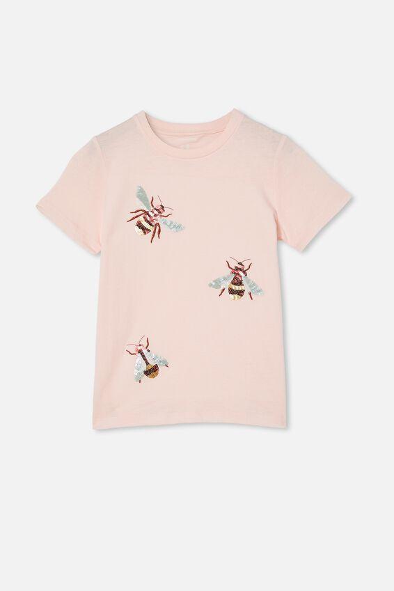 Stevie Short Sleeve Embellished Tee, CRYSTAL PINK/ SEQUIN BEES