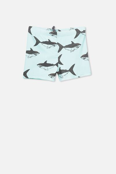 Billy Boyleg Swim Trunk, ICY AQUA/SHARKS