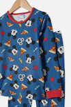 Orlando Long Sleeve Pyjama Set Licensed, LCN DIS MICKEY PIZZA PRETZELS / NAVY BLAZER