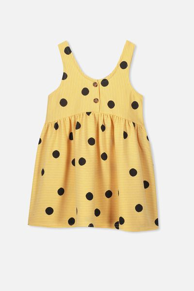 Anya Sleeveless Dress, CORN SILK/SPOT