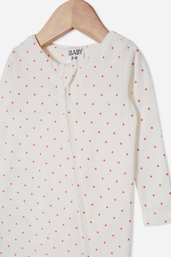 The Snug Long Sleeve Zip Romper, JOY SPOT VANILLA/RED ORANGE