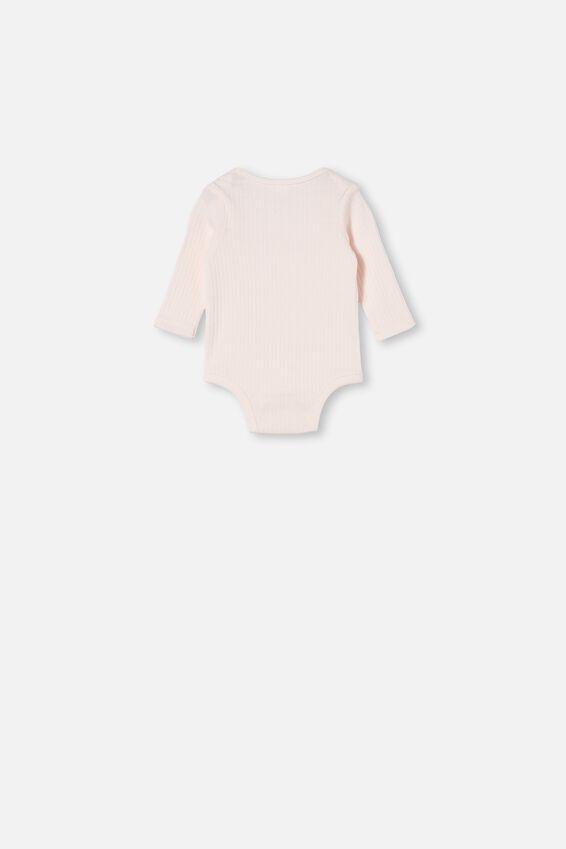 Organic Newborn Long Sleeve Bubbysuit, CRYSTAL PINK/LITTLE SIS