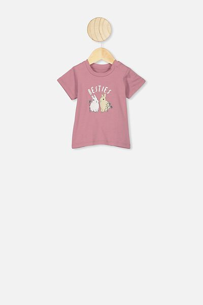 Jamie Short Sleeve Tee, DUSTY BERRY/BESTIES