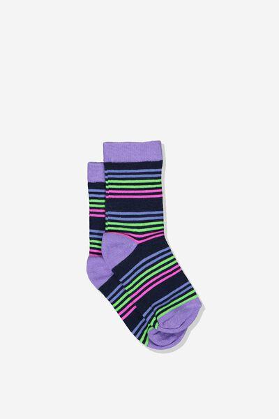 Fashion Kooky Socks, G MULTI STRIPE PEACOAT