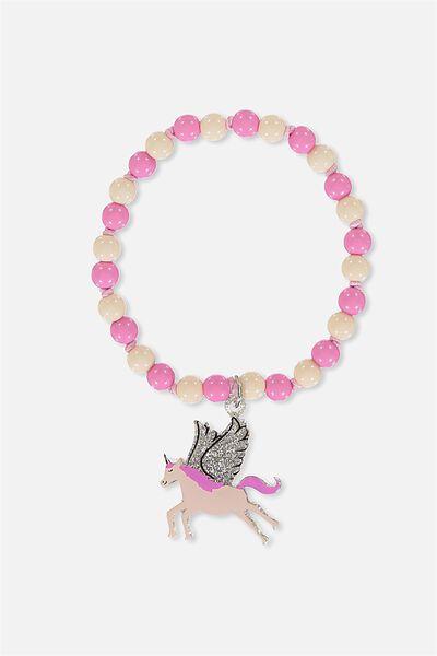 Glitter Charm Bracelet, UNICORN
