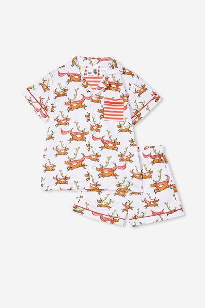 Riley Kids Unisex Short Sleeve Pyjama Set Licensed, LCN DRS GRINCH MAX SEASON GREETING VANILLA
