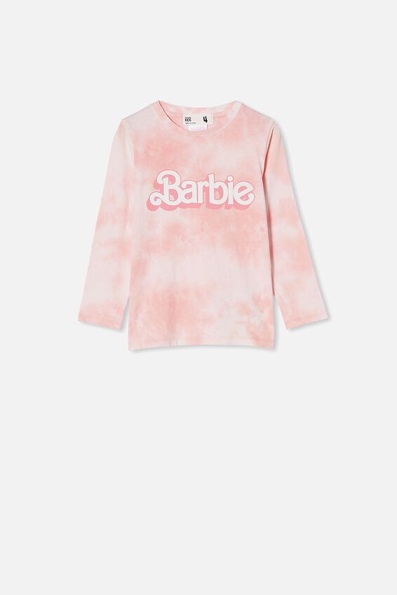 License Long Sleeve Tee, LCN MAT POWDER PINK TIE DYE/BARBIE LOGO