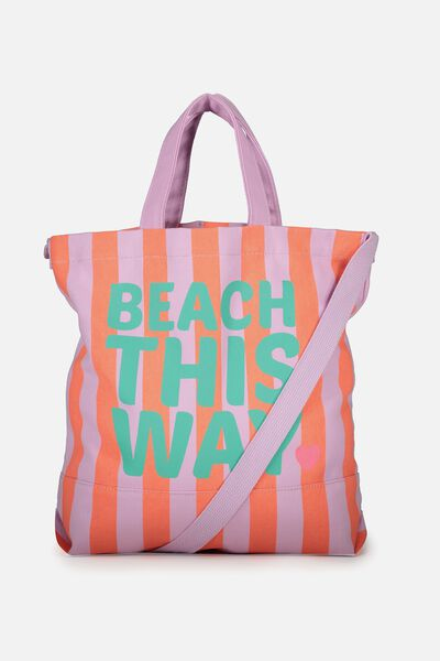Printed Beach Tote, BEACH THIS WAY
