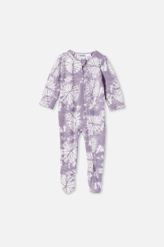 The Long Sleeve Zip Romper, DUSK PURPLE TIE DYE