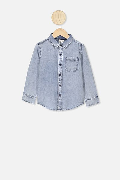 Fairfax Long Sleeve Shirt, MID SNOW DENIM
