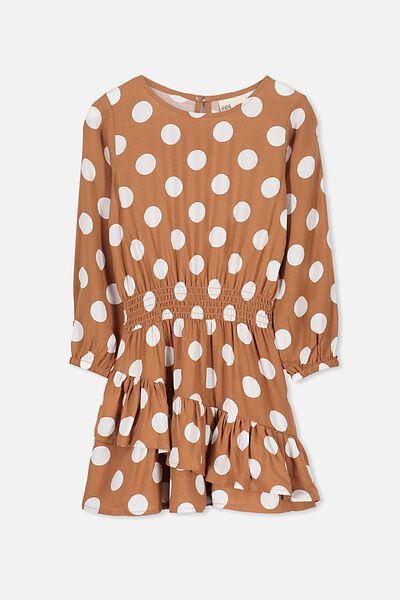 Indiana Long Sleeve Dress, WALNUT/BIG SPOT