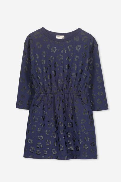 Mara Long Sleeve Dress, PEACOAT/BLACK ANIMAL