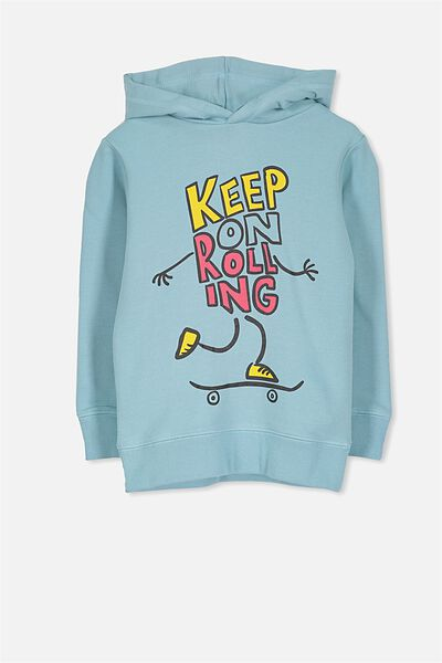 Liam Hoodie, SHELL BLUE/KEEP ON ROLLING