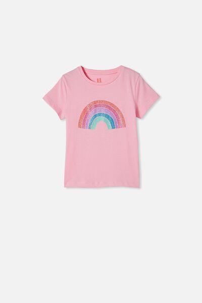 Penelope Short Sleeve Tee, CALI PINK/GLITTER RAINBOW