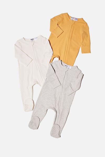 3 Pack Long Sleeve Zip Romper, VINTAGE HONEY/CLOUD MARLE/VANILLA