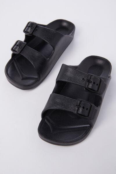 Twin Strap Slide, BLACK