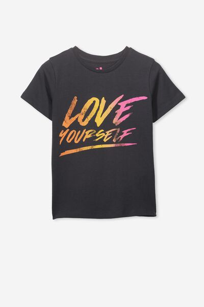 Penelope Short Sleeve Tee, PHANTOM/LOVE YOURSELF/MAX