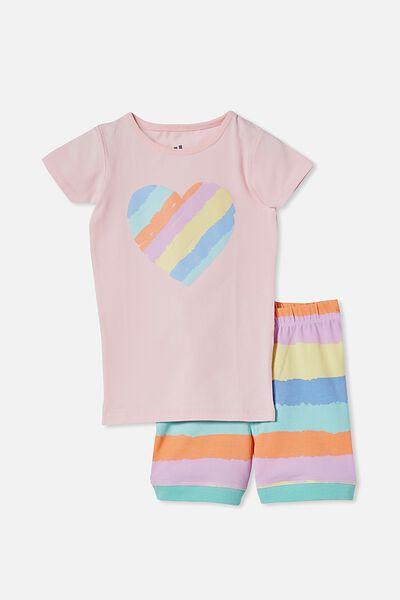 Nikki Short Sleeve Pyjama Set, RAINBOW HEART/CRYSTAL PINK