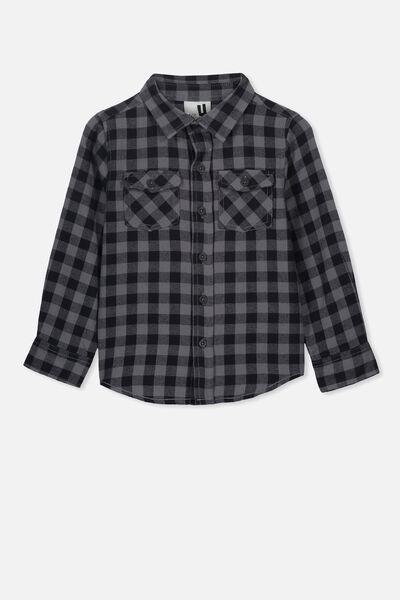 Fairfax Long Sleeve Shirt, GREY/BLACK