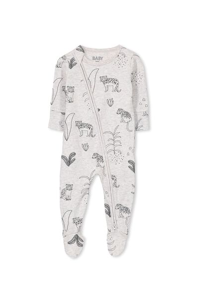 Sleep Mini Zip All In One Jumpsuit, GREY NEP MARLE/LEOPARD JUNGLE