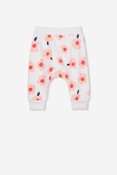Charlie Trackpant, WHITE/PINK GRAPEFRUIT HAPPY FLORAL
