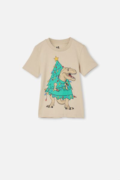 Max Skater Short Sleeve Tee, RAINY DAY CHRISTMAS DINO