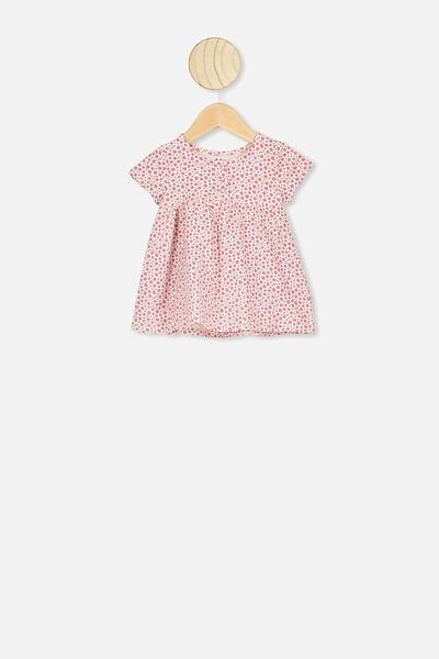 Milly Short Sleeve Dress, VERY BERRY/EDITH FLORAL