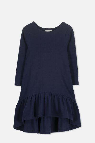 Joss Long Sleeve Dress, PEACOAT/TEXTURE