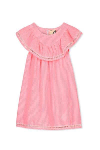 Olivia Dress, HIGHLIGHTER PINK STRIPE