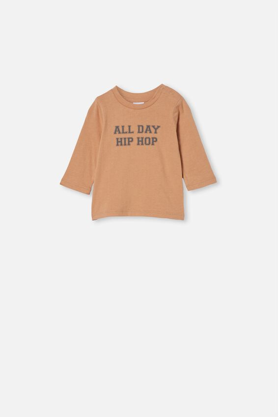 Jamie Long Sleeve Tee, CAPPUCCINO/ALL DAY HIP HOP
