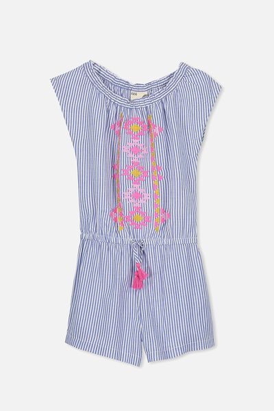 Adele Short Jumpsuit, PRINCESS BLUE/VANILLA STRIPE/EMBROIDERY