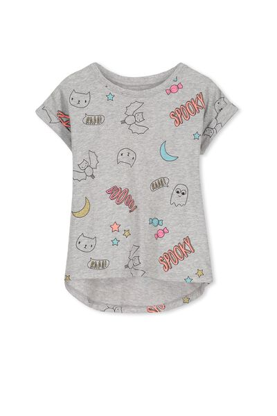 Penelope Short Sleeve Roll Up Tee, LIGHT GREY MARLE/SPOOKY