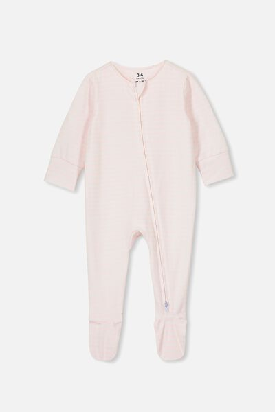 The Long Sleeve Zip Romper, CHRIS STRIPE CRYSTAL PINK/WHITE