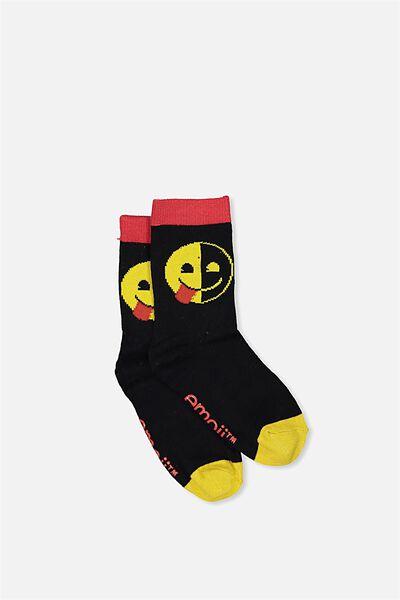 Fashion Kooky Socks, HALF SMILE EMOJI