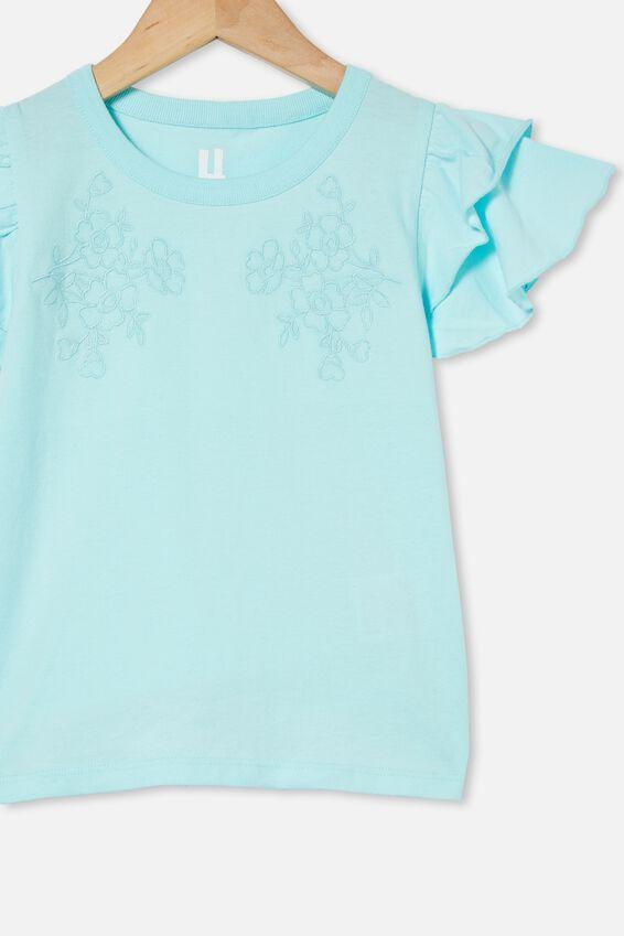 Fleur Flutter Sleeve Top, DREAM BLUE/FLOWERS