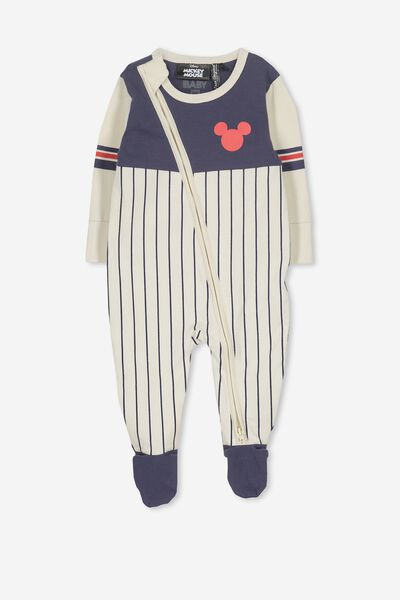 License Zip Through Romper, DARK VANILLA/MICKEY MOUSE