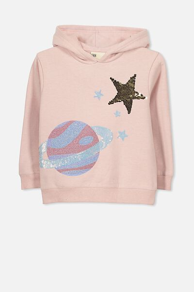 Scarlett Set In Sleeve Hoodie, SILVER PINK/PLANET AND STAR