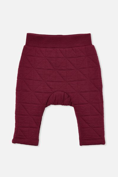 Emerson Quilted Trackpant, FADED BURGUNDY