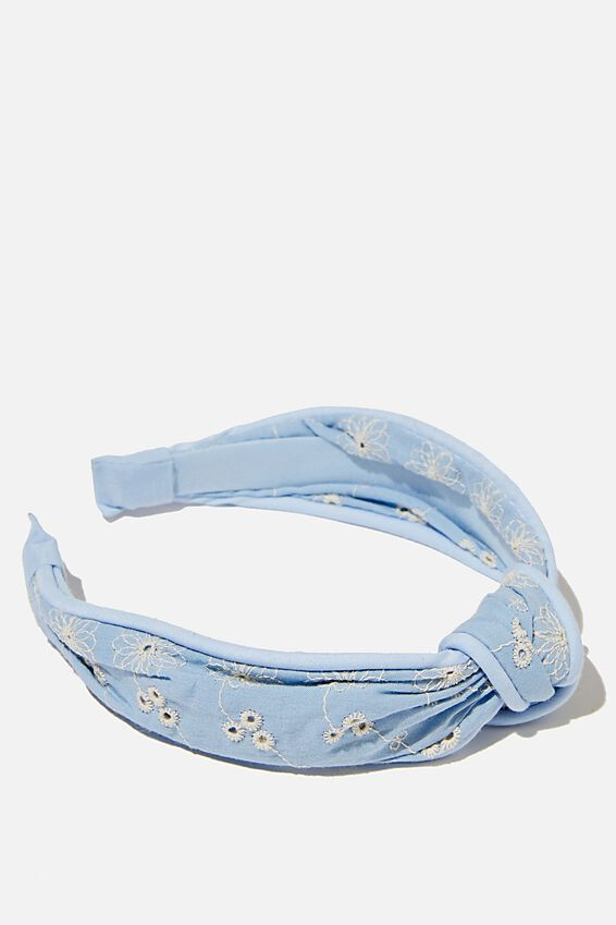 Knotted Headband, DUSK BLUE BRODERIE